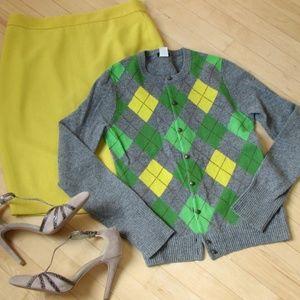 J. Crew Argyle Sweater Wool Cashmere Cardigan Grey